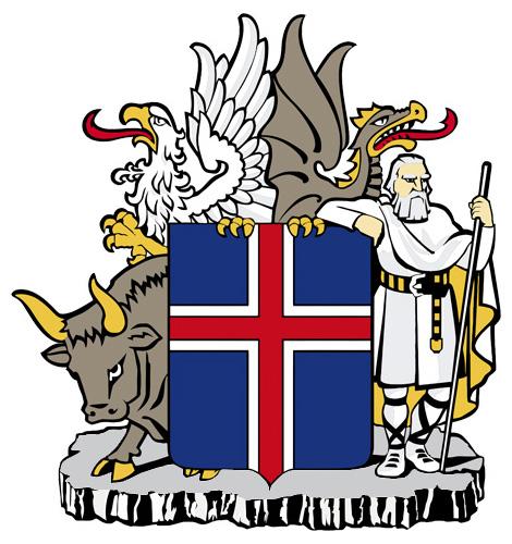 de vlag, het wapen en het volkslied van ijsland